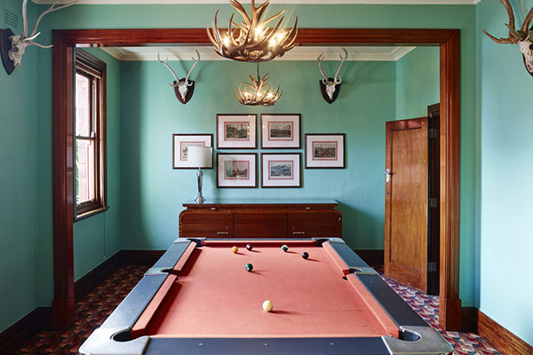 Pool room at the Oaks Hotel